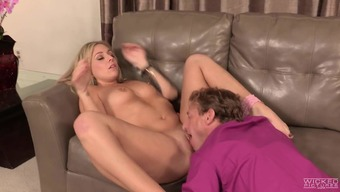 Lovely nanny Madelyn Monroe with the use of long flaxen hair and cute