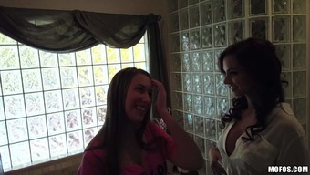 Ashley Sinclair and her dim haired close friend go topless and