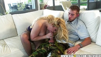 Busty blond MILF is trapped and fucked