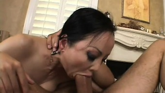 Ange Venus dines on his delectable sausage after that grinds it in her own cunt
