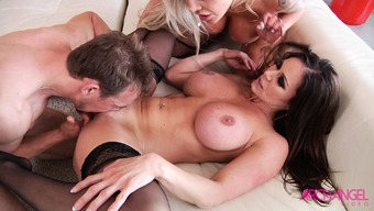 Kendra Want and Nina Elle conquer pussy and cock in warm threeway behavior