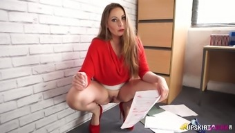 Leggy desk staff briefly mini skirts Sophia Delane takes off panties in the office