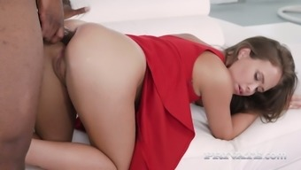 BBC fucks charming woman in scarlet gown Jenny Ferri and makes her anus damaged
