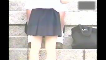 schoolgirls with wide-open legs simultaneously