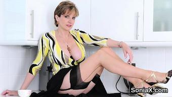 Unfaithful british milf girl sonia indicates her huge titties