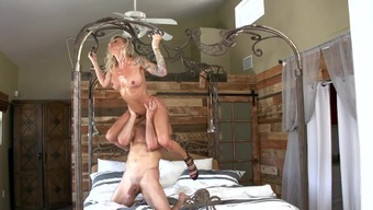 Skinny cougar almost fucked and compelled to really blow whole entire weight