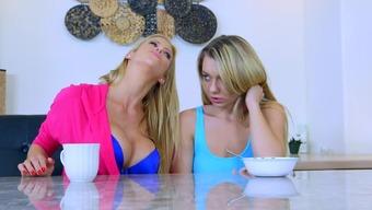 Grimy mama and female child XXX kitchen lesbian porno