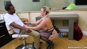 Brown full-figured light colored female in beyond compare intimate apparel enhance her hot stupid ass