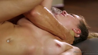 Perverted adult man booty fucks yummy flaxen masseur Zoey Monroe in water floor tough