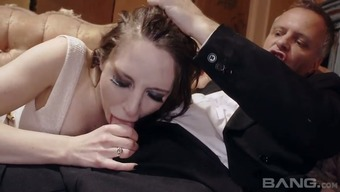 Saucy subdue haired fuck toy Samantha Aston martin rides major complicated penile organ heatedly