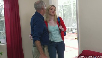 Attractive and wonderful blonde girl stripped and boned by old males