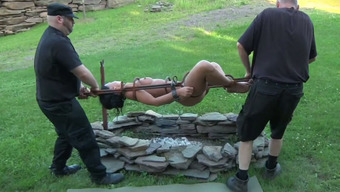 Filthy whore is crusified then chained into heavy metal alleviation
