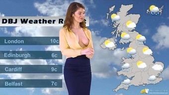 Wayward Uk weather girl results in letting her tits get out