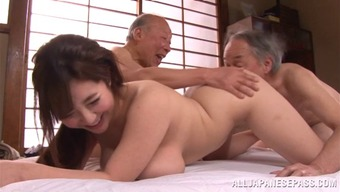 Old men get a challenge to gangbang a huge boobs Japanese people walk