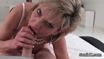 Adulterous britain age female sonia burst out her substantial boobs