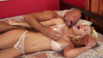 Youthful Sienna changes glucose papa titties and clit plus touch fucks and drains his lollipop