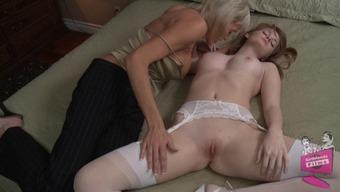 Lovely bride Faye Reagan is hooked by a lesbian milf