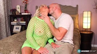 Fishnet blond gilf slut is extremely fuckable while touching manhood