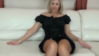 Beautiful both legs blond milf mama in footware exhibiting stock tops