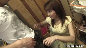Japanese MILF Chika Sasaki is definitely on top of her knee caps and needing to please