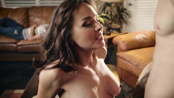Magnificent MILF is playing with her son's friend