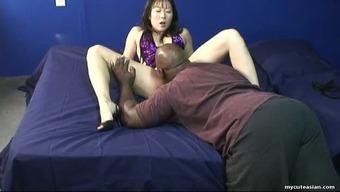 Skanky Korean hooker kissing outstanding dick in poignant interracial video