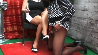 High heel boots and ft makes this attractive strange addict hard