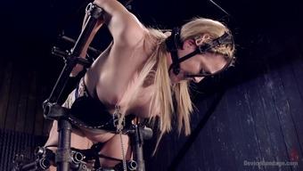Heated Blond in Cruel Device Slavery
