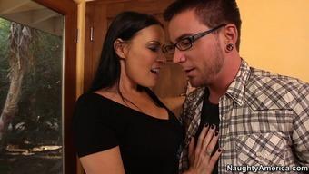 Dissolute dark mum Vanilla DeVille gives her spouse stifling blowjob