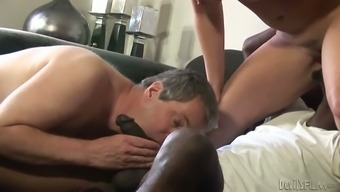 Busty black milf and her bisexual hubby give you a blowjob to some dark colored guy