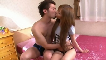 Brown haired lovable Japanese elegance is rather talented at touching penis