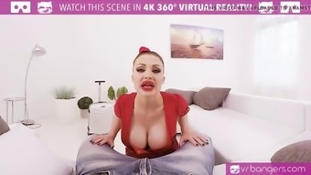 vr porn-busty aletta sea get exploded and titty fuck along with a