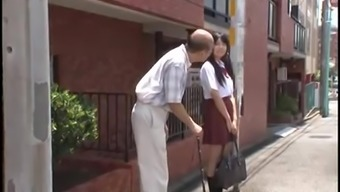 younger jap schoolgirl is persuaded by old man in bus