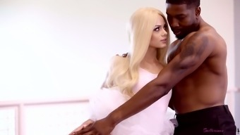 Pale auburn dancer Elsa Jean gets her wet pussy fucked by black stud