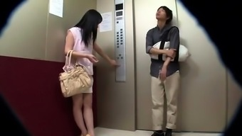 Japanese people partners stuck in damaged elevator make time fucking
