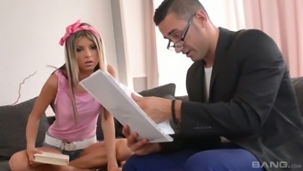 Little brown Gina Gerson seduces her coach also the ceo fucks her anal opening
