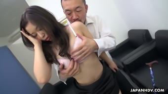 Beautiful Japanese office hottie Yuka Tsubasa takes her business owners dick into twat