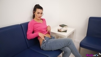 Lovely and gamine girl Laura removes jeans to be on the sparkle a person her cherry