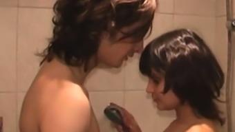 Newbie youngster bath blowjob