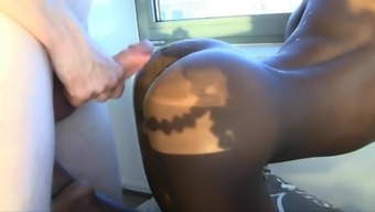 Hot curly haired ebony will try anus