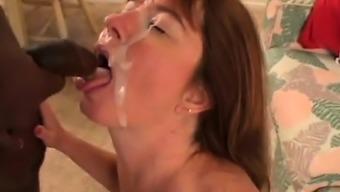 Big tits wife take pleasure in a black monster phallus