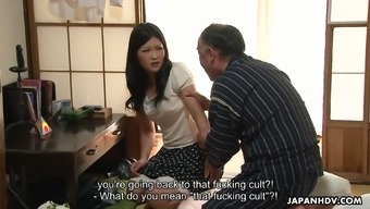 Svelte Japanese nympho Ami Maeshima lures the host and gets fucked mish