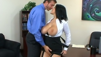Juggy secretary Carmella Bing shows talents of her deep throat and wet cunt