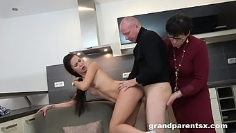 Mature shares hot man's big dick with younger female