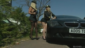 Busty officer Georgia Jones brings in a criminal to fuck her