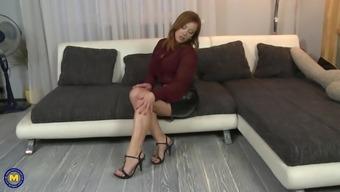 Mature blonde MILF secretary Bibi Fox strips in her office