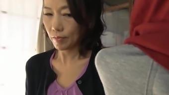 Japanese mother having son training love-making