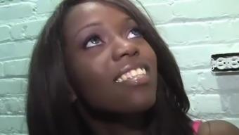 Ebony Whitney Williams Tries Big Gloryhole Joystick