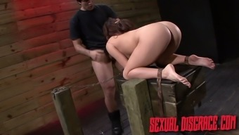 Pervert fucks puffy pussy and bottomless throat of tied up babe Stella May