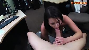 Customers wife sucks cock and pounded at the pawnshop